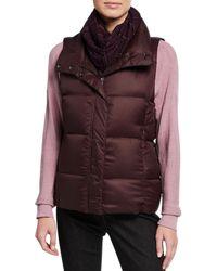 Eileen Fisher Petite Nylon Funnel-neck Puffer Vest - Multicolour