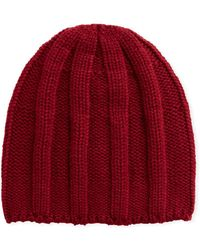 Brunello Cucinelli Men's Cashmere Ribbed Beanie Hat - Red