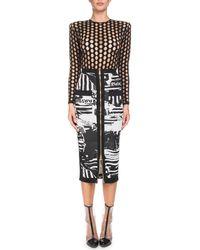Balmain - Newspaper-print Mid-calf Pencil Skirt - Lyst
