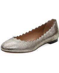 e3a5835b8d1 Chloé - Lauren Scalloped Metallic Leather Ballet Flats - Lyst