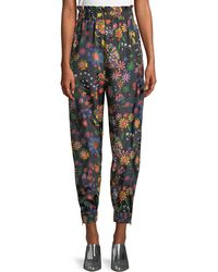 Tibi - Floral-print Ruffle Tech Jogger Pants - Lyst