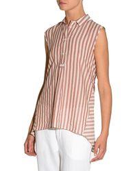 Eleventy - Striped Cotton Sleeveless Trapeze Top - Lyst