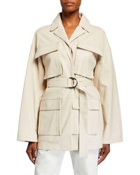 Co. Leather Wrap Utility Jacket - White