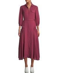 9b687fb44f0ee Gabriela Hearst - Woodward Belted Cashmere Gauze Ankle Dress Plum - Lyst