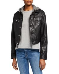 Lamarque - Joelle Leather Jacket With Detachable Hood - Lyst