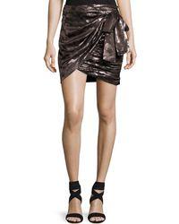 Isabel Marant - Maldy Metallic Pixel Floral Wrap Miniskirt - Lyst