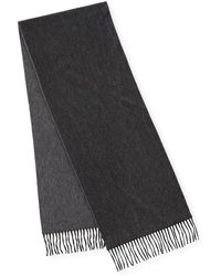 Begg & Co - Reversible Cashmere Scarf W/fringe, Charcoal - Lyst