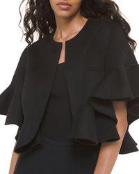 Michael Kors Wool Ruffled Shrug Cardigan - Black