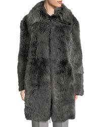 Emporio Armani Reversible Leather Shearling Fur Long Coat - Black