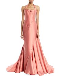 Rubin Singer Sleeveless Fitted Halter-neck Evening Ball Gown W/ Sunburst Seaming - Orange