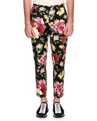 Dolce & Gabbana - Floral-print Skinny Twill Pants - Lyst