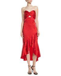 Shoshanna - Amalia Strapless High-low Dress - Lyst