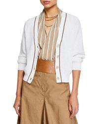 27b5b552dd Brunello Cucinelli Knit Lace-cuff Turtleneck Sweater in White - Lyst