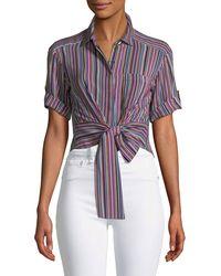 Nanette Lepore - Sassy Stripe Self-tie Silk Top - Lyst