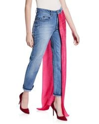 Hellessy Aston Distressed Jeans With Draped-lame Overskirt - Blue