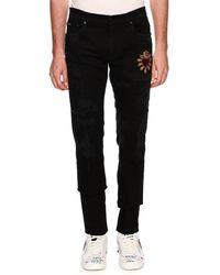 Dolce & Gabbana - Patched Slim-fit Denim Jeans - Lyst