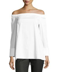 Lafayette 148 New York - Off-the-shoulder Stretch-cotton Blouse - Lyst