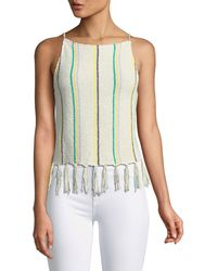 Cupcakes And Cashmere - Cecille Sleeveless Striped Crochet Top W/ Tassel Hem - Lyst