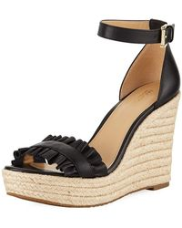 MICHAEL Michael Kors - Bella Ruched Leather Wedge Sandal - Lyst