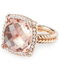 David Yurman Chatelaine Pave Bezel Ring With Morganite In 18k Rose Gold - Pink