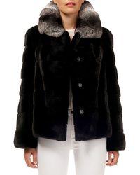 Gorski - Horizontal Stripe Mink-fur Jacket W/ Chinchilla-fur Collar - Lyst