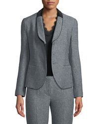 Emporio Armani - Single-breasted Shawl-collar Tweed Jacket W/ Velvet Half Collar - Lyst