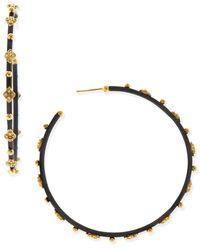 Armenta Diamond Crivelli Cross Large Hoop Earrings - Black