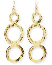 Devon Leigh Hammered Multi-circle Drop Earrings - Metallic