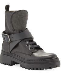 Brunello Cucinelli Lug-sole Monili Lace-up Combat Boots - Black