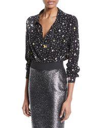 Boutique Moschino Star-print Long-sleeve Bodysuit - Black