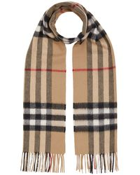 Burberry Giant Check Wool Scarf - Natural