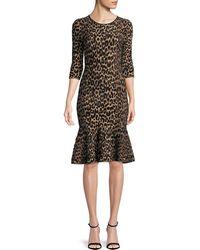 MILLY - Textured Leopard Animal-print Mermaid Midi Dress - Lyst