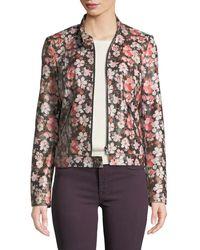 Neiman Marcus - Cherry Blossom Center-zip Leather Jacket - Lyst