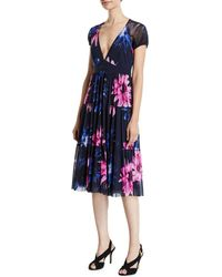 Fuzzi - Fracture V-neck Floral-print Short-sleeve Tiered Dress - Lyst