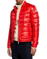 Moncler Men's Acorus Quilted Stretch Down Jacket - Red