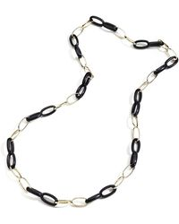 Vhernier Long 18k Rose Gold & Ebony Link Necklace - Metallic
