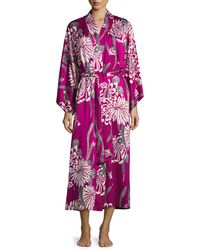 Natori Aziome Floral-print Long Robe Purple Pattern