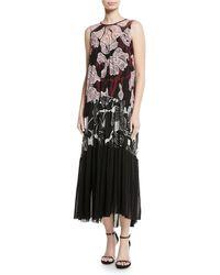 Fuzzi - Patchwork Vino-print Sleeveless Long Dress - Lyst