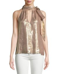 Ramy Brook Sasha Metallic Tie-neck Sleeveless Top - Pink