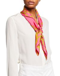 Versace - Baroque Cup Square Silk Scarf - Lyst