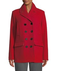 Piazza Sempione Double-breasted Wool Melton Pea Coat - Red