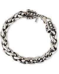Emanuele Bicocchi Men's Large-link Wheat Chain Bracelet, Silver - Metallic