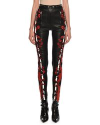 Alexander McQueen - Rose-embroidered Racer-striped Leather Leggings - Lyst