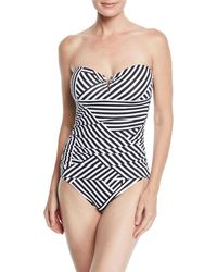 b363301e76 Tommy Bahama Fractured Stripe V-wire Bandeau One-piece in Black ...