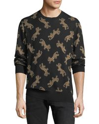 Ovadia And Sons - Men's Leopard Jacquard Sweater - Lyst