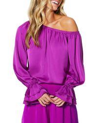 Ramy Brook Murphy Off-the-shoulder Ruffle-sleeve Top - Purple