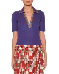 Bottega Veneta - Short-sleeve V-neck Cropped Ribbed-knit Polo Top With Snakeskin Trim Collar - Lyst