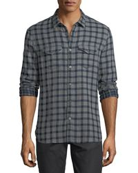 John Varvatos | Plaid Cotton Western Shirt | Lyst