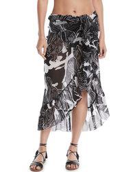 Fuzzi - Printed Ruffle Wrap Skirt Pareo - Lyst