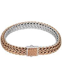 John Hardy - Bronze/silver Reversible Woven Chain Bracelet - Lyst